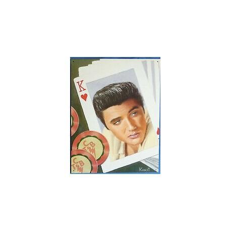 Plaque métal publicitaire 32x40cm plate : ELVIS PRESLEY CARTE