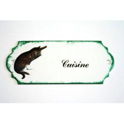 Plaque de porte émaillée décor chat :  Cuisine