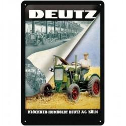 Plaque métal publicitaire 20x30cm bombée en relief  : Tracteur DEUTZ