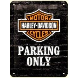 plaque métal publicitaire 20x30cm bombée en relief :  HARLEY-DAVIDSON PARKING ONLY