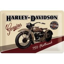 plaque métal publicitaire 20x30cm bombée en relief :  HARLEY-DAVIDSON 750 Flathead