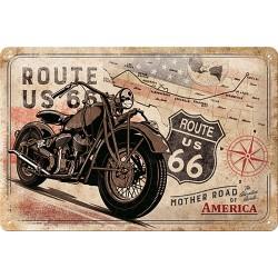 plaque métal publicitaire 20x30cm bombée en relief :  ROUTE US 66 MOTHER ROAD OF AMERICA