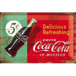 plaque métal publicitaire 20x30cm bombée en relief : Coca-Cola Delicious Refreshing