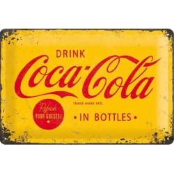 plaque métal publicitaire 20x30cm bombée en relief : Drink Coca-Cola in bottles