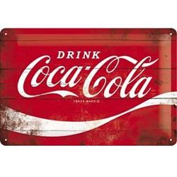plaque métal publicitaire 20x30cm bombée en relief : Drink Coca-Cola