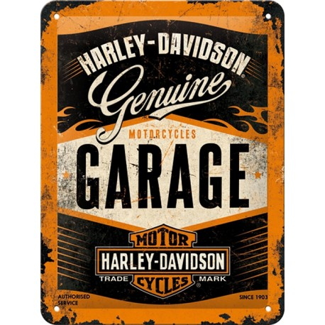 plaque métal publicitaire 20x30cm bombée en relief :  HARLEY-DAVIDSON Motorcycle Garage