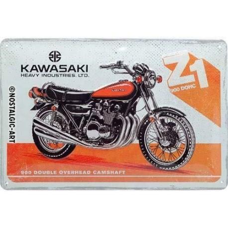 plaque métal publicitaire 20x30cm bombée en relief :  KAWASAKI 900 Double Overhead Camshaft