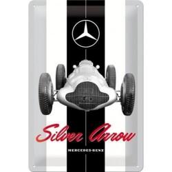 plaque métal publicitaire 20x30cm bombée en relief :  Mercedes-Benz Silver Arrow