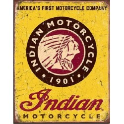 Plaque métal publicitaire 30x40cm plate : INDIAN MOTORCYCLES SINCE 1901