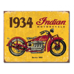 Plaque métal publicitaire 30x40cm plate : INDIAN MOTORCYCLES 1934