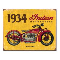 Plaque métal publicitaire 30x40cm plate : INDIAN MOTORCYCLES 1934