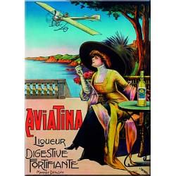 Plaque métal publicitaire 15x20cm plate :  AVIATINA Liqueur Digestive