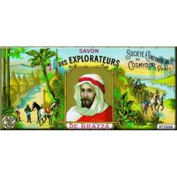 Plaque métal publicitaire 18x45 cm plate : SAVON DES EXPLORATEURS