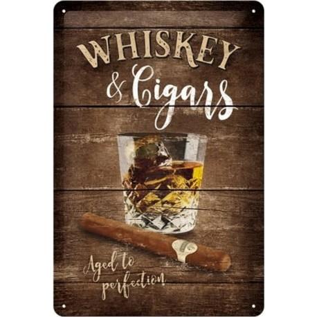 plaque métal publicitaire 20x30cm bombée en relief : Whiskey & Cigars