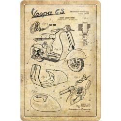 plaque métal publicitaire 20x30cm bombée en relief :  VESPA Parts Sketches