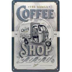 plaque métal publicitaire 20x30cm bombée en relief :  The Mobile Coffee Shop