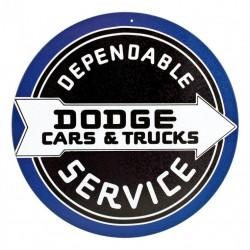 Plaque métal  publicitaire diametre 30cm plate : DODGE CARS & TRUCKS