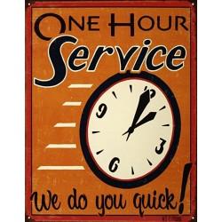 Plaque métal  publicitaire 30x40cm plate : ONE HOUR SERVICE