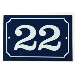 Numéro de rue  émaillé 10 x 15 cm bleu - Numero 22