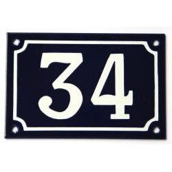 Numéro de rue  émaillé 10 x 15 cm bleu - Numero 34