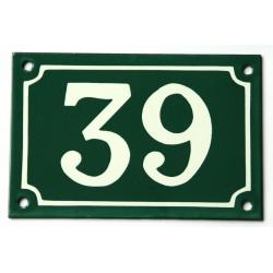 Numéro de rue  émaillé 10 x 15 cm vert - Numero 39 - petit défaut