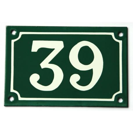 Numéro de rue  émaillé 10 x 15 cm vert - Numero 39