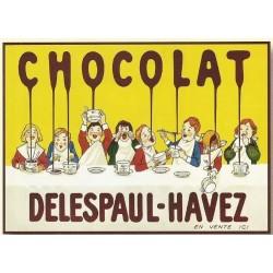 plaque métal publicitaire 20x30cm bombée en relief :  CHOCOLAT DELESPAUL-HAVEZ
