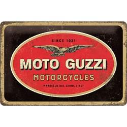 plaque métal publicitaire 20x30cm bombée en relief :  MOTO GUZZI
