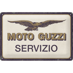 plaque métal publicitaire 20x30cm bombée en relief :  MOTO GUZZI SERVIZIO