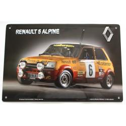 plaque métal publicitaire 20x30cm bombée en relief :  RENAULT 5 ALPINE