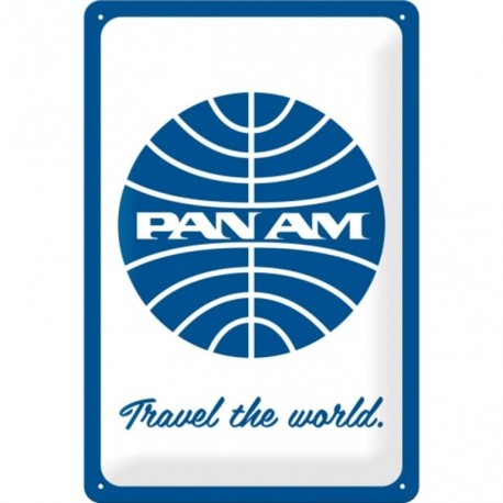 plaque métal publicitaire 20x30cm bombée en relief :  PAN AM