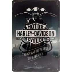 plaque métal publicitaire 20x30cm bombée en relief :  HARLEY DAVIDSON