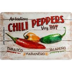 plaque métal publicitaire 20x30cm bombée en relief :  CHILI PEPPERS