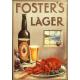 Plaque métal publicitaire 40 x 28cm plate : FOSTER'S LAGER