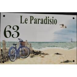 Numéro de rue  émaillé 15 x 22 cm  Paradisio N° 63