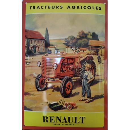 plaque métal publicitaire 20x30cm relief  : RENAULT TRACTEURS AGRICOLES