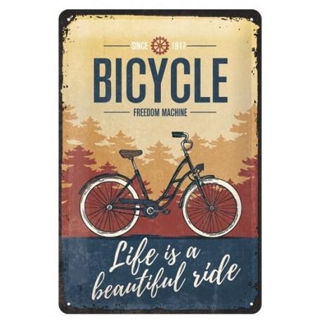 plaque métal publicitaire 20x30cm bombée en relief :  BICYCLE FREEDOM MACHINE
