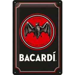 Plaque métal publicitaire 20x30 cm bombée en relief :  Bacardi Bat.