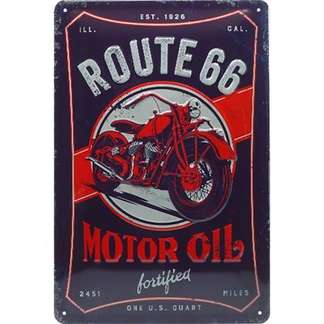 Plaque métal publicitaire 20x30 cm bombée en relief :  Route 66 Motor oil
