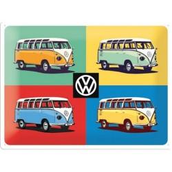 plaque métal publicitaire 30x40cm bombée en relief :  VW Bulli (Combi) Pop Art