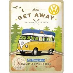 plaque métal publicitaire 30x40cm bombée en relief :  VW Combi Be Ready for a camp adventure