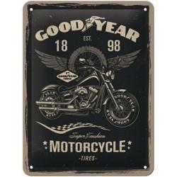 plaque métal publicitaire 30x40cm bombée en relief :  Goodyear Motorcycle Tires