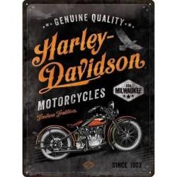plaque métal publicitaire 30x40cm bombée en relief :  HARLEY DAVIDSON USA MILWAUKEE