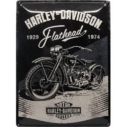 plaque métal publicitaire 30x40cm bombée en relief :  HARLEY DAVIDSON USA FLATHEAD 1929-1974