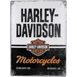 plaque métal publicitaire 30x40cm bombée en relief :  HARLEY DAVIDSON MOTORCYCLES