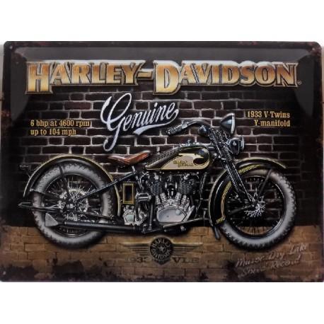 plaque métal publicitaire 30x40cm bombée en relief :  HARLEY DAVIDSON 1933 V-Twins