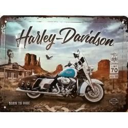 plaque métal publicitaire 30x40cm bombée en relief :  HARLEY DAVIDSON BORN TO RIDE
