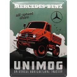 plaque métal publicitaire 30x40cm bombée en relief : MERCEDES-BENZ UNIMOG