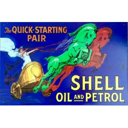 Plaque métal publicitaire 42 x 28cm plate : SHELL OIL AND PETROL - THE QUICK STARTING PAIR