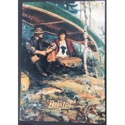Plaque métal décorative 40 x 31 cm plate : BRISTOL STEEL FISHING RODS